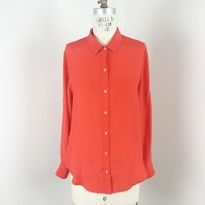 Broadway & Broome Button Up Silk Orange Blouse S